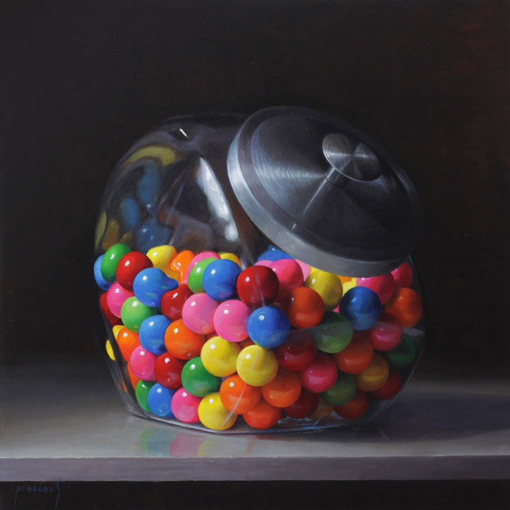 Painting of gumballs in a jar.