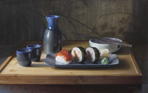 Painting of Sushi on a plate and Saki.