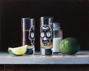 Painting of tequila shots, lime, and salt.