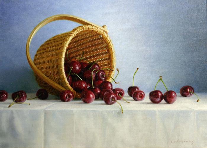 Cherries in Nantucket Basket