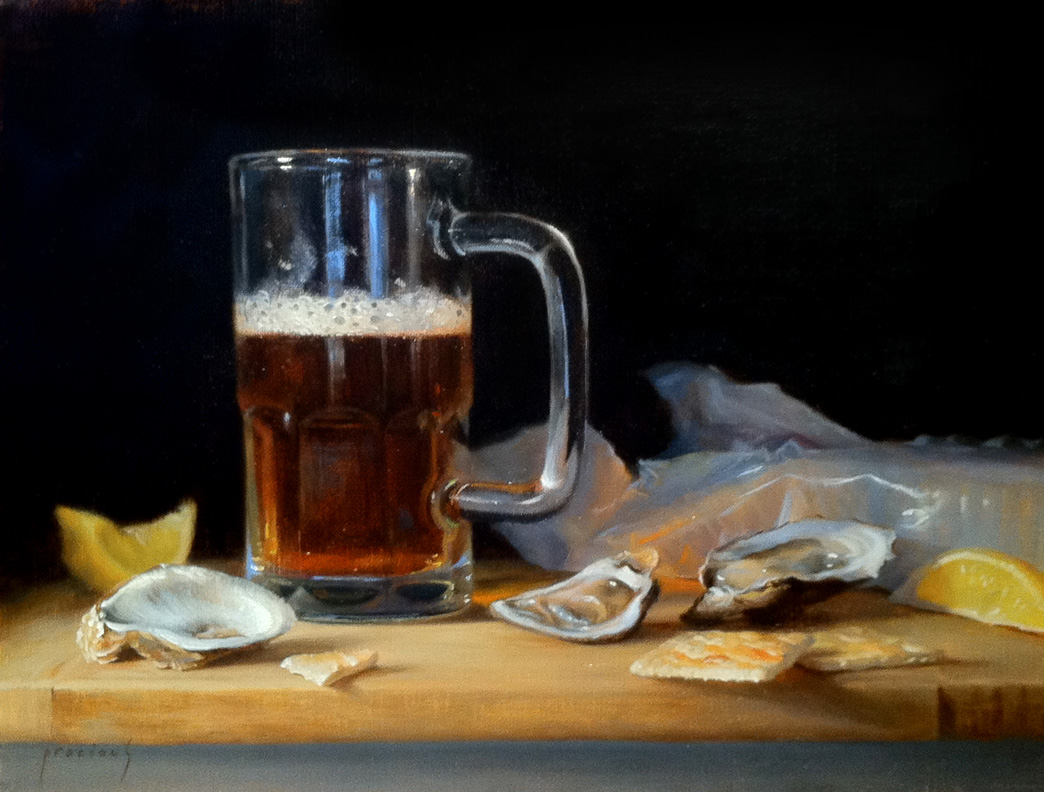 """Beer and Oysters N'awlins style • 12 x 16"""" oil on linen"""