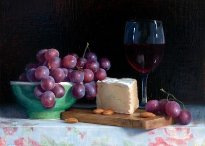 Brie Wine and Grapes