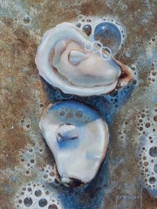 Painting of an open oyster in the sand and surf.