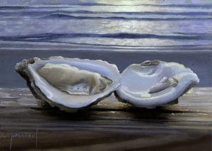 Painting of oyster on a railing.