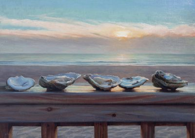 Painting of oysters on a railing in front of ocean sunrise.